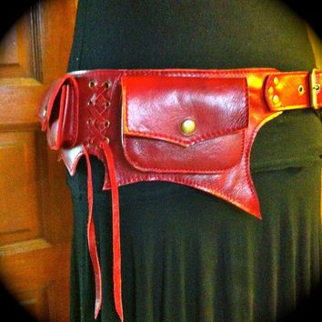 Leather Pocket Belt / Utility / Festival / BAT