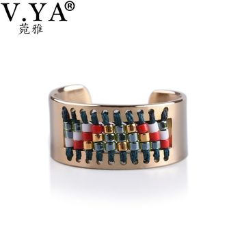 V.YA Women's Boho Ring Handmade Weave Pattern Stainless Steel Anillos Miyuki Seed Bead Jewelry Bohemia Rings for Woman Female