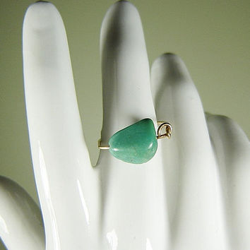 Native Turquoise Ring with 14K Gold Fill, December Birthstone, US Mine Turquoise, Dainty Ring, Turquoise Jewelry