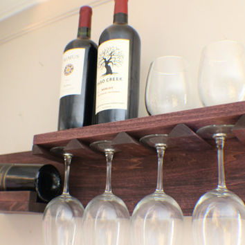 Beautiful Space Saving You Pick the Stain Color Wall Mounted Wine Rack with Shelf and Glass Holder, Wine and Liquor Shelf