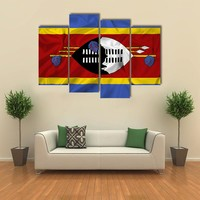 Waving Swaziland Flag Multi Panel Canvas Wall Art