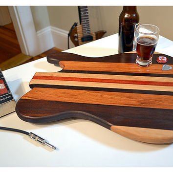 Handmade Wood Rockin Guitar Cutting Board - T Style - Brazilian Cherry & Bloodwood