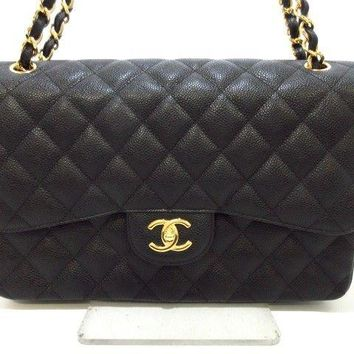 Auth CHANEL Large Matelasse Black Caviar Skin Shoulder Bag Double Flap