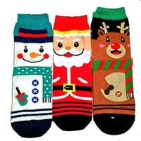Christmas Xmas X Mas Set of 3 Ankle Socks Santa Snowman Reindeer Ugly Sweater Party