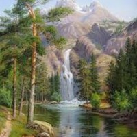 landscape  paint  painting  numbers  picture  waterfall