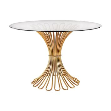 Flaired Rope Entry Table In Gold Leaf And Clear Glass Gold Leaf,Clear