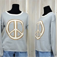 Peace sweater / 90s oversized sweater / size S / M / Boho / Hippie / gray pullover sweater / Venus made in Poland