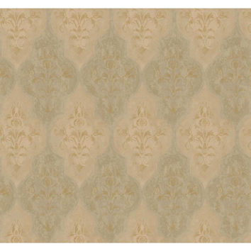 York Wallcoverings RG5010 Fresco Gold, Terra Cotta and Brown Moroccan Damask Wallpaper