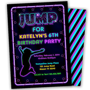 Girls Jump Birthday Invitation - Trampoline Birthday Invitation Girl - Jump Invitations - BounceParty - Neon - 80s - retro - purple - girly