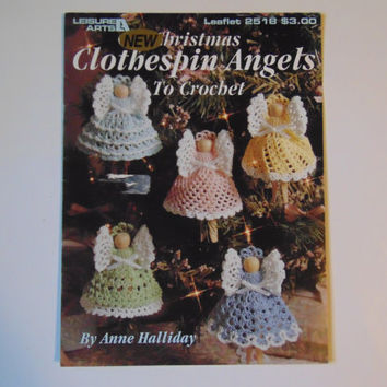 Christmas Clothespin Angels Crochet Angel Ornaments Pattern Leisure Arts 2518