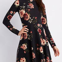Floral Mock Neck Skater Dress | Charlotte Russe