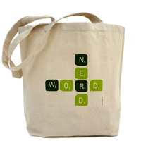 Word Nerd Canvas Tote Bag Classic Shopper by PamelaFugateDesigns
