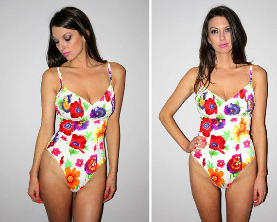 Vintage 80s White One Piece Bathing Suit From Past Lives