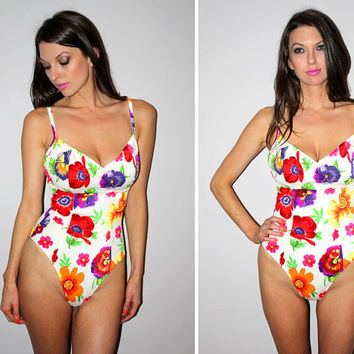 Vintage 80s White One Piece Bathing Suit / Bright Big Floral Print / High Cut Leg Swimsuit / Draped Bust / Daisies + Pansies / Small D+ Cup