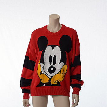 Vintage 80s Walt Disney Mickey Mouse Graphic Sweater 1980s Mickey Novelty Face Disneyland Character Mens Womens Unisex Sweater / Large