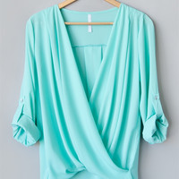 Mint Draped Blouse