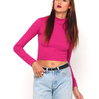 Motel Lara Turtleneck Crop Top in Hot Pink