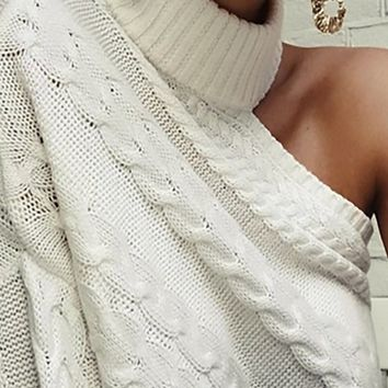 I Love Drama Long Sleeve One Shoulder Pattern Cable Knit Turtleneck Pullover Sweater - 2 Colors Available