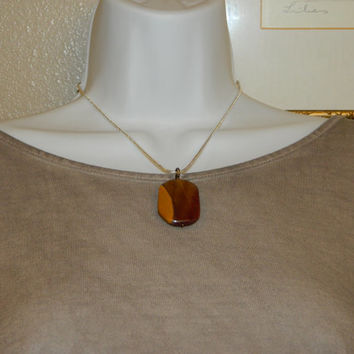 65ct. Two-tone Brown Stone, Semi Precious, Agate, Pendant, Necklace, Rectangle, Natural Stone, 146-15
