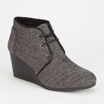 Toms Herringbone Womens Desert Wedges Black Herringbone  In Sizes