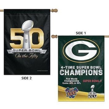 "GREEN BAY PACKERS 4X SUPER BOWL CHAMPIONS 28""X40"" DOUBLE SIDED BANNER FLAG NEW"