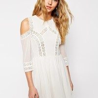 ASOS Skater Dress with Cold Shoulder and Crochet Lace Inserts