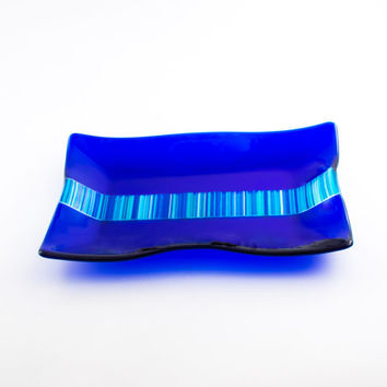 Cobalt Blue Glass Serving Tray, Fused Glass Platter, Serving Dish, Modern Design, Kitchen Accessories, Rectangular Tray, One of a Kind Gifts