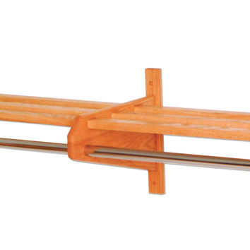 Wooden Mallet Oak Finish 73 3/4 Home Double Coat and Hat Rack / Stand With 5/8 Chrome Bar Light Oak