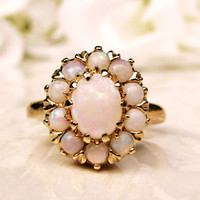 Vintage Opal Ring Alternative Engagement Ring 2.56ctw Opal Wedding Ring 14K Yellow Gold October Birthstone Ring Bridal Jewelry Size 7!