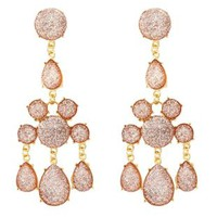 Glitter Jewel Chandelier Earrings by Charlotte Russe - Lt Pink