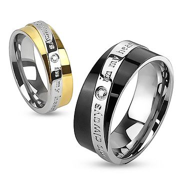Always In My Heart - FINAL SALE Round cut cubic zirconia set in gold and black IP engraved couples stainless steel ring