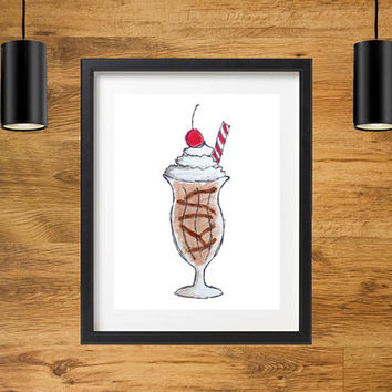 Milkshake Illustration Wall Decor | Printable Watercolor Art