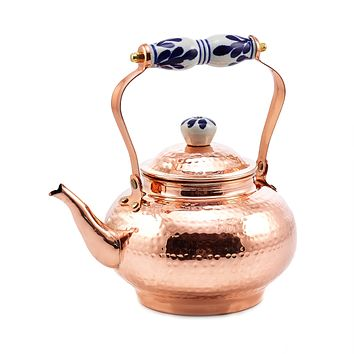 Solid Copper Tea Kettle with Blue and White Ceramic Knob by Old Dutch International