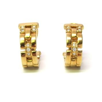 Cartier Maillon Panthere Gold Diamond Hoop Earrings