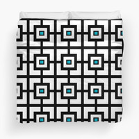 Black White and Blue Square Tiles by KCavender