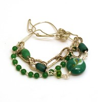 Emerald Isle Green Three Strand Bracelet