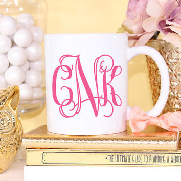 Fancy Monogram Mug- Coffee Cappuccino Tea Mug - Maid of Honor Bridesmaid Gift