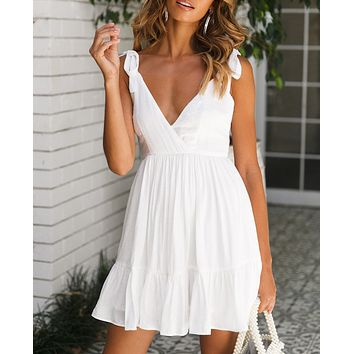 Fashion New Solid Color Straps Dress Leisure Women White