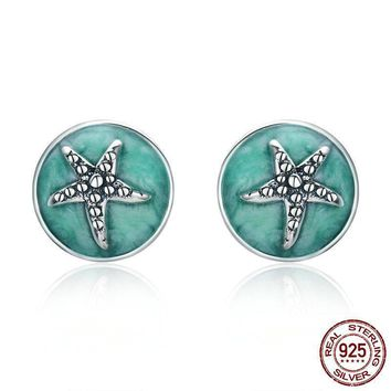 925 Sterling Silver Fantasy Starfish Round Small Stud Earrings