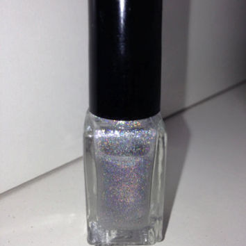 "Nail Polish - ""Out of Space"" - Silver spectraflair holographic glitter nail polish 12ml"