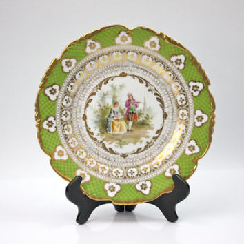 Antique Porcelain Cabinet Plate / Richard Klemm Dresden / Gold Ornamention