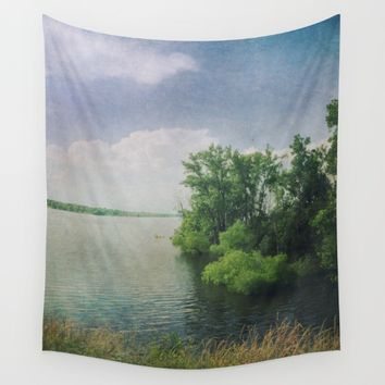 She Sat in the Sunshine and Watched the Clouds Wall Tapestry by Olivia Joy StClaire