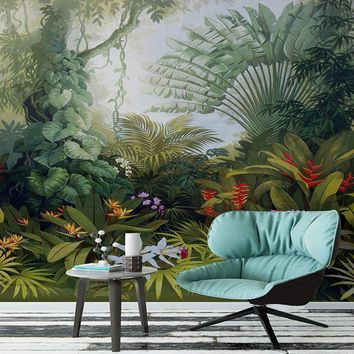 Custom Mural Wallpaper Hand Painted Tropical Rainforest Plant Landscape Painting Wall Papers Home Decor Living Room Papier Peint