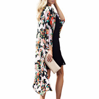 Women's Long Chiffon Floral Kimono Duster Beach Coverup 3/4 Sleeve