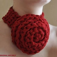 Crochet Rose Necklace PATTERN  / PDF format Pattern /  Crochet accessories pattern / jewelry pattern
