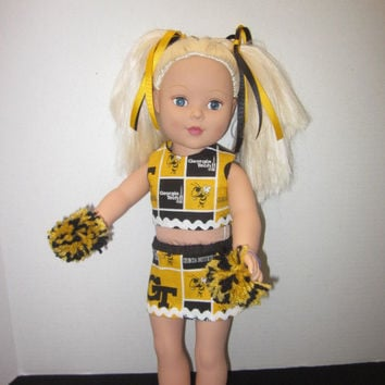 Georgia Tech American Girl 18 Inch Doll Cheer Uniform Doll Clothes Baby Doll Clothes Doll Dress Cheer Uniform By Sweetpeas Bows & More