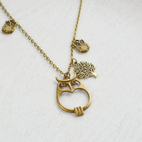 Owl Necklace, Tree of Life Necklace,Owl Jewelry Necklace,Leaf Pendant,Owl Charm Necklace, Tree and Owl Necklace,Branch Necklace,Tree Branch
