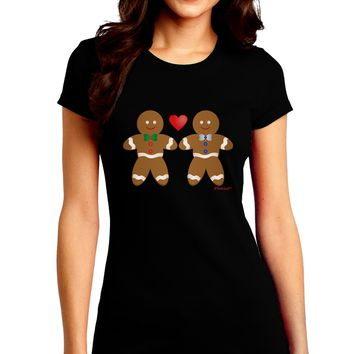 Gingerbread Man Couple Juniors Crew Dark T-Shirt by TooLoud