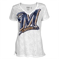 Milwaukee Brewers - Large Logo Juniors Burnout V-Neck T-Shirt