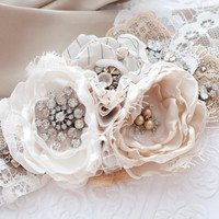 Bridal flower sash belt, taupe and ivory, vintage rhinestones and lace